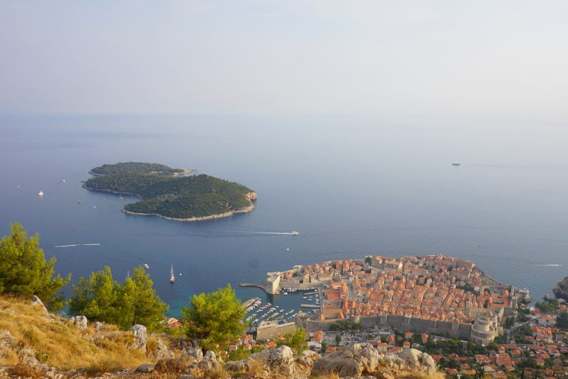 View of Dubrovnik and nearby island from the top of the cable car at sunset
