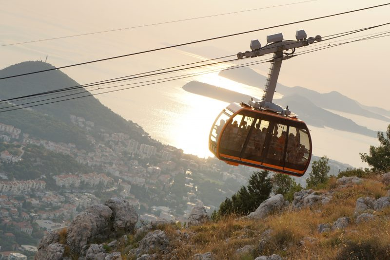Dubrovnik cable car at sunset, taken from the car park at the top of the cable car
