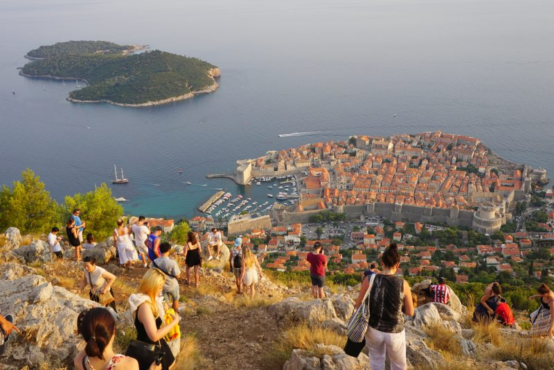 Crowds gathering at the top of Dubrovnik Cable Car