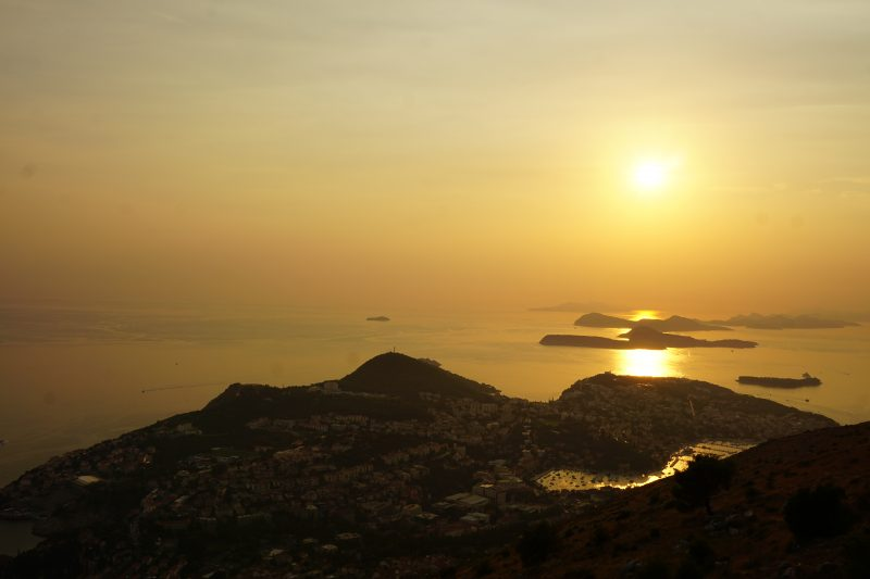 Sunset over the Dubrovnik coast and islands, taken from the viewpoint at the top of the cable car